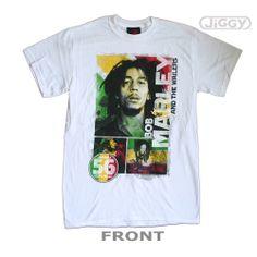 Actual Fact Bob Marley Smoke Printed T-shirt Reggae White Tee