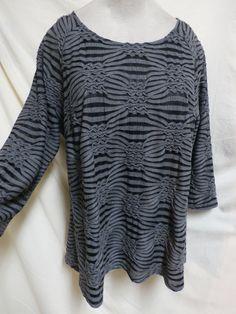 Dressbarn EUC Plus Size Gray & Black Textured Sheer Lined Top Size 1X #Dressbarn #KnitTop