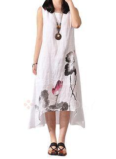 Vestidos de - $43.08 - Linho Floral Sem magas Longuete Vintage Vestidos de (1955106576)