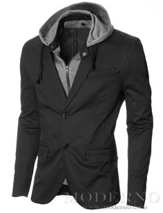 MODERNO - Men's Slim Fit Hoodie Blazer, Black