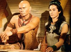 """Kings of the Sun is unique for the time in that it doesn't feature a single """"white man"""" character. Hollywood Actor, Classic Hollywood, Shirley Anne Field, Solomon And Sheba, Native American Movies, Richard Basehart, The Brothers Karamazov, Julie London, Yul Brynner"""