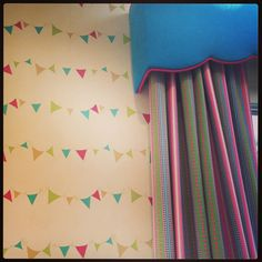 Girls bedroom - Wallpaper, curtains & pelmet pink aqua blue
