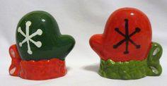 Ceramic Snowflake Mittens Gloves Salt & Pepper Shakers Christmas