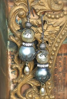 Misty+Pearl+Earrings+Upcycled+Baroque+Gypsy+Boho+by+sweetruin,+$60.00