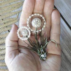 dandelion wishes dandelion wishes Bead Embroidery Jewelry, Fabric Jewelry, Diy Jewelry, Beaded Jewelry, Handmade Jewelry, Jewelry Design, Jewelry Making, Beaded Bracelets, Silver Jewelry
