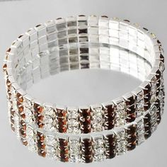 USA SELLER Swarovski Bi- Color Crystal 15.7 Grams 3 Row / Layer14k Solid White Gold Filled With The High Sparklle of Swarovski Crystals Clear & Natural Brown Amber The Finest Quality Australian Crystals Made! Adjustable Bracelet Retail Value $425. Starting at $1