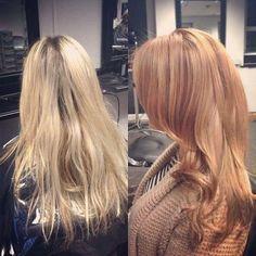 Redhairstyles blonde to strawberry blonde transformation #redhairhairstyles