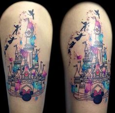 Watercolor Magic Kingdom Tattoo by Besaly