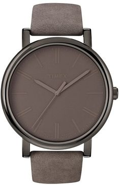 Timex® 'Easy Reader' Leather Strap Watch #timex #taupe #leather #watch #mauve #fashion