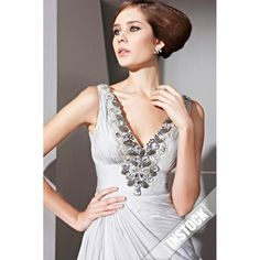 Cheap Silver Dresses | Cheap Sexy Silver Beaded Prom Dress Styles On Sale sci060