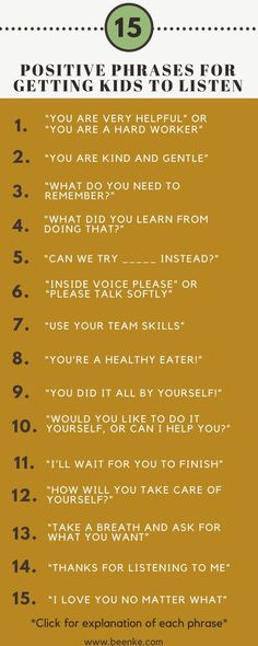Getting kids to listen without yelling takes patience and skill. How can you develop this parenting skill? Check out 15 positive phrases you can try now. If you are an educator you can also try this at school, in the classroom. Parenting Classes, Kids And Parenting, Parenting Hacks, Parenting Plan, Foster Parenting, Parenting Styles, Positive Parenting Solutions, Parenting Articles, Parenting Humor