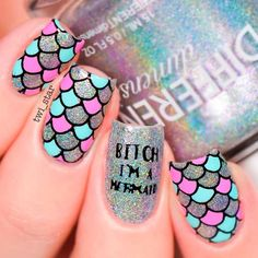 Beautiful nail art designs that are just too cute to resist. It's time to try out something new with your nail art. Cute Nail Art, Cute Acrylic Nails, Cute Nails, Pretty Nails, Nail Art Rosa, Hair And Nails, My Nails, Nail Art Designs, Mermaid Nail Art