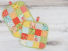 Pot Holder ~ Patchwork by Sherri McConnell from A Quilting Life