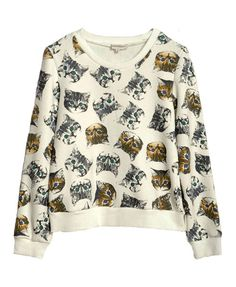 Cat Print Long Sleeves Sweatshirt