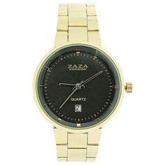 Zaza London Gents Date Grey Dial Gold Tone Metal Strap Dress Watch Gold Watch, Quartz, Dating, London, Watches, Best Deals, Metal, Grey, Accessories