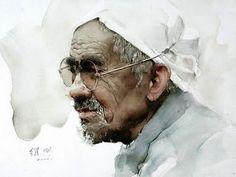guan weixing watercolor | Old man from Shanxi - Watercolor