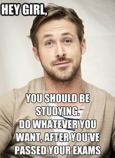 Ryan Gosling is plenty of motivation for term papers to be written.  Have a movie marathon spaced out between studying for exams!