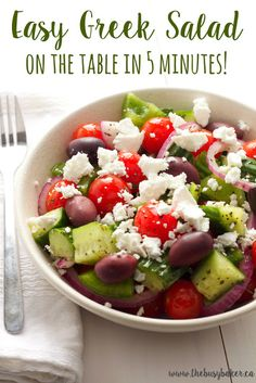 This Quick and Easy Greek Salad is authentic and so delicious! It makes the perfect light lunch or a great side dish for your next Greek-inspired meal!   Looking for more Greek recipes? Try my Easy Homemade Tzatziki or this delicious Chicken Souvlaki! Hungry for more? Pin this recipe on Pinterest! Follow me! Like my...