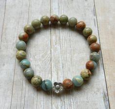 Yoga Mala bracelet, Snake skin jasper beads also called aqua terra, crystal healing bracelet mala beads bohemian meditation gem stone