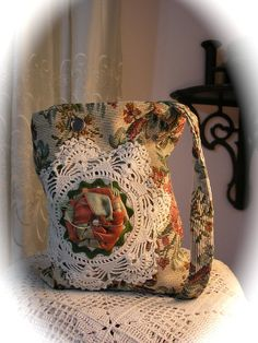 Cottage Chic Handbag, Shabby Victorian style with floral tapestry fabric, vintage crocheted doily handmade VERY SMALL