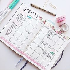 Monthly spread with goals