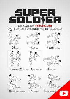 Super Soldier Workout - one for Alfie x Fitness Workouts, Fitness Gym, At Home Workouts, Fitness Shirts, Studio Workouts, Fitness Tips, Fitness Models, Fitness Motivation, Special Forces Workout