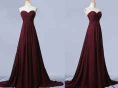 Beautiful Simple Sweetheart Maroon Long Chiffon Prom Dress, Simple Prom Dresses 2016, Bridesmaid Dresses