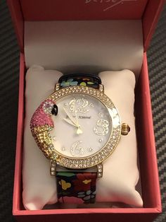 df705b46d3 Betsey Johnson Parrot Gold Tone Floral Leather Strap Watch 44mm Bj3 for  sale online | eBay
