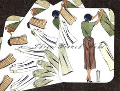 Autumn Vintage Fashions For The Outdoor Girl Stationery Note Flat Set