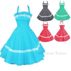 Maggie Tang 50s 60s Vintage Dancing Swing Rockabilly Party Dress Skirt Polka Dot | eBay