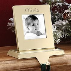 Personalized Brass Photo Stocking Holder