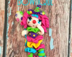 Circus Clown - polymer clay doll - polymer clay charm - pendant - bow center - clay charm