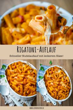 Rigatoni-Auflauf Pasta casseroles are made so quick and easy, perfect for a quick dinner after work. Our Rigatoni casserole recipe is just as fast food. Baked with delicious mozzarella, it makes every heart beat faster. Fast Dinners, Quick Meals, Quick Casseroles, Pasta Recipes, Dinner Recipes, Cooking Recipes, Recipe Pasta, Beef Recipes, Chicken Recipes