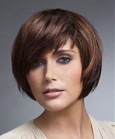 A medium brown straight coloured multi-tonal bob Womens haircut hairstyle by Intermede