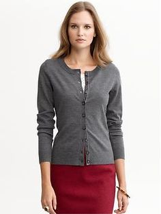 Velvet trim merino cardigan.  Love this whole look.  Sweater with pencil skirt.  Sexy librarian.