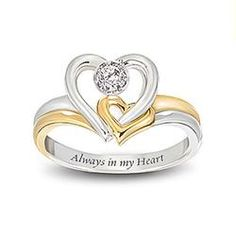 Always In My Heart Engraved Heart-Shaped Diamond Ring: Romantic Jewelry Gift For Her  $129.00   I need this!