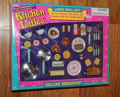 Kitchen Littles by Tyco Deluxe Breakfast Large Meal Set, Barbie House Furniture, Doll Furniture, Retro Toys, Vintage Toys, 90s Toys, Childhood Toys, Childhood Memories, Barbie Playsets, Barbie Doll Set