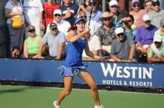 Catherine (CiCi) Bellis stuns on the court and works a beautiful blue striped skirt!
