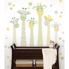 WallPops Meet the Fitzgeralds Large Wall Art Kit - This giraffe family is so friendly and fun! Six giraffes in total, along with a confetti splash of f Large Wall Decals, Large Wall Art, Wall Stickers, Nursery Decor, Wall Decor, Nursery Ideas, Nursery Design, Nursery Inspiration, Bedroom Ideas
