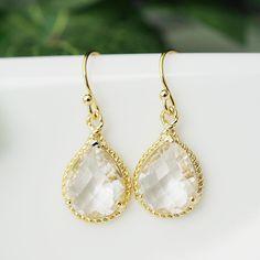 Clear Glass Pear Cut gold trimmed Earrings - Earrings Nation