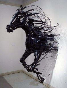 Horse Installation Art from Discarded Plastic, Sayaka Kajita Ganz created these wild horse sculptures from trash-picked objects like plastic utensils, toys, and metals. bit.ly/1kPhBCa, #installation, #art, #horse