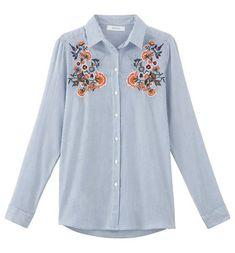 Koszula z haftem niebieskie paski - Promod