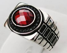 Handmade 925 Sterling Silver Red Zircon & Marcasite STONE Men's RING E46