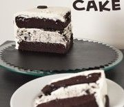 Chocolate layer cake with a cream cheese, sugar, cool whip, and oreo filling