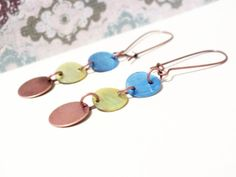 Copper Blue & Green Shell Earring Dangles by harmony5 on Etsy, $15.00