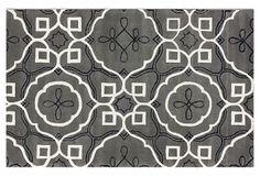 Madrid Rug, Gray/ White     I'm loving this dark gray black and white rug.