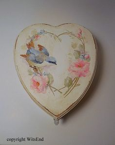 Memory Keepsake Box.  original painting  on vintage wooden Heart box by 4WitsEnd, via Etsy  SOLD