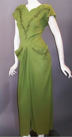 1940s fern green rayon dress with beading, DCV archives