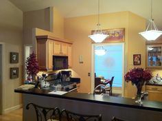 Painted walls on pinterest kitchens the cabinet and - Peach color kitchen ...