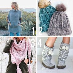 Here are some modern free crochet patterns that use Lion Brand Yarn including slippers, beanies, a poncho and a scarf! Designed by Jess Coppom from Make & Do Crew.